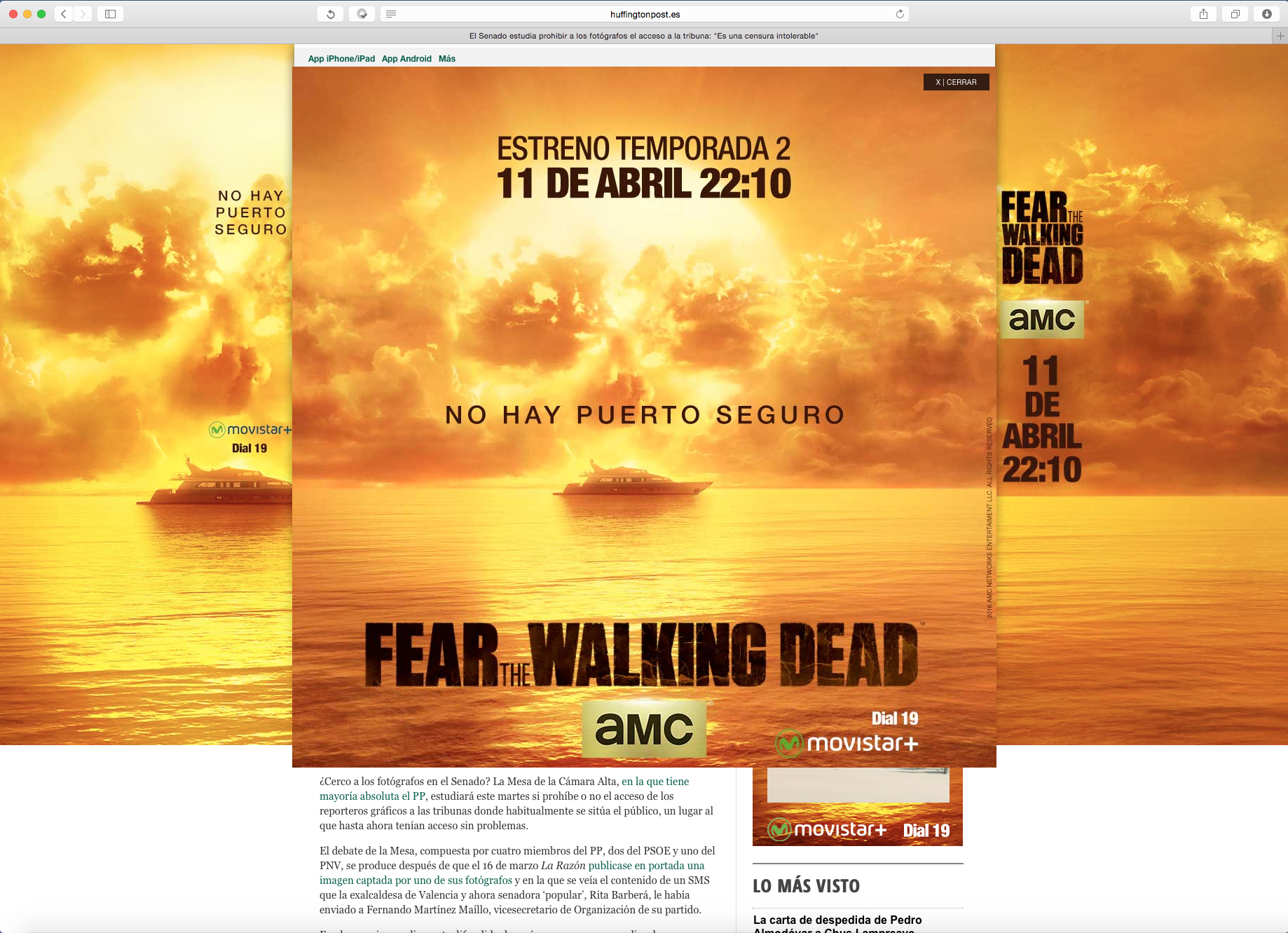 Banner desplegable al hacer click o rollover con vídeo trailer de FTWD2 de AMC Networks International Iberia