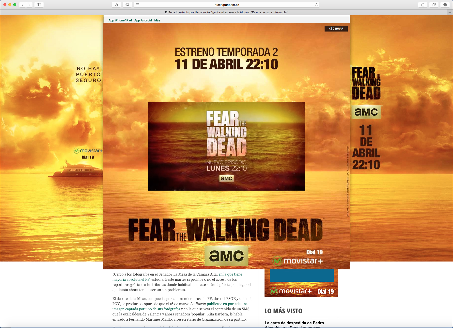 Banner rollover desplegable de FTWD2 de AMC Networks International Iberia