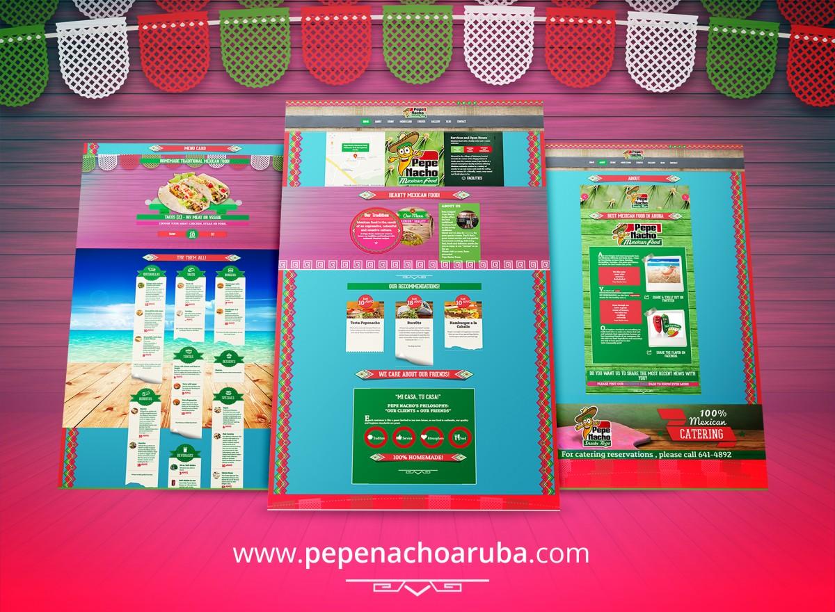 Diseño web de restaurante mexican Pepe Nacho Aruba Mexican Food en Oranjestad, Aruba.