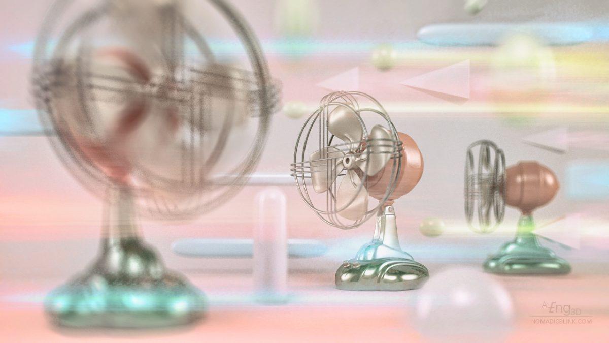 Composición de ventiladores retro con geometrías en movimiento